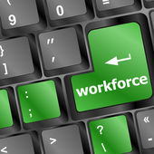 Chiave di forza lavoro sulla tastiera - concetto di business — Foto Stock