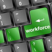 Clé de l'effectif sur clavier - concept d'affaires — Photo