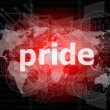 The word pride on business digital screen — Stock Photo #39723817