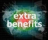 Extra benefits slogan poster concept. Financial support message design — Stock Photo