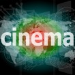 Cinema word on digital screen with world map — Stock Photo #40026001