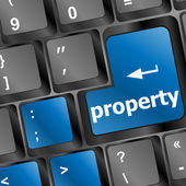 Property message on keyboard enter key, to illustrate the concepts of copyright — Stock Photo