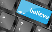 Social media key with believe text on laptop keyboard — Stock Photo