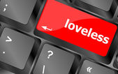 Loveless on key or keyboard showing internet dating concept — Photo