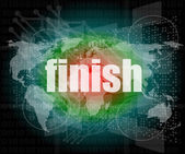Finish word on digital screen, mission control interface hi technology — Stock Photo