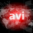 Digital concept: avi word on digital screen — Stock Photo #40057505