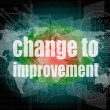 Business concept: words change to improvement on digital touch screen — Stock Photo