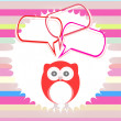 Stock Photo: Cute kids background with owls and abstract cloud set