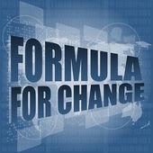 Formel für die änderung wort auf digital touchscreen — Stockfoto