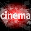 Cinema word on digital screen with world map — Stock Photo