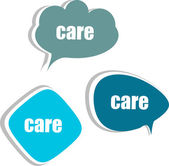 Care. Set of stickers, labels, tags. Template for infographics — Stock Photo