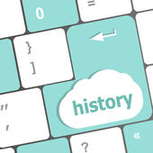 Laptop keyboard and key history on it — Stock Photo