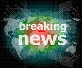 News and press concept: words breaking news on digital screen — Stock Photo