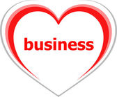 Business concept, business word on love heart — Foto de Stock