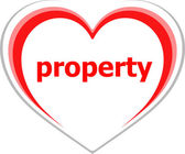 Business concept, property word on love heart on white — Stock fotografie
