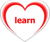 Education concept, learn word on love heart — Stock Photo