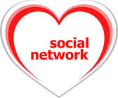 Social concept, social network word on love heart — Stock Photo