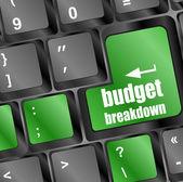 Budget breakdown words on computer pc keyboard keys — Stock Photo