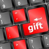 Computer keyboard with gift key - business background — Zdjęcie stockowe