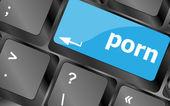 Porn button on keyboard - social concept — Stock Photo
