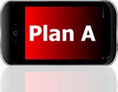 Plan een woord op slimme mobiele telefoon met blauw scherm — Stockfoto
