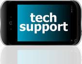 Teknik destek kelimeler, iş kavramı ile dijital smartphone — Stok fotoğraf