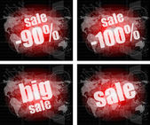 Set of sale percentage words on business digital touch screen — Foto Stock