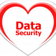 Security concept, data security words on love heart — Stock Photo
