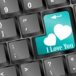 Online love, two hearts symbol at the computer key, i love you — Stock Photo #40554511