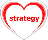 Marketing concept, strategy word on love heart — Stock Photo
