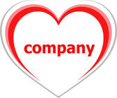 Business concept, company word on love heart on white — Stockfoto