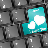 Online love, two hearts symbol at the computer key, i love you — Foto de Stock