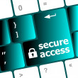 Secure access, close up view on conceptual keyboard, Security key — Stock Photo