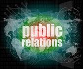 Conceito social: relações públicas palavras na tela digital, 3d — Fotografia Stock