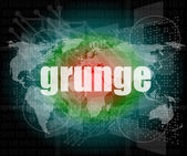 Grunge words on digital touch screen interface — Stock Photo
