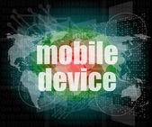 Slovo mobilních zařízení na digitální obrazovky 3d — Stock fotografie