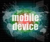 Woord van mobiele apparaten op digitale 3d scherm — Stockfoto