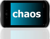 Smartphone with word chaos on display, business concept — Foto Stock