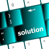 Wording solutions on computer keyboard key button — Stock Photo