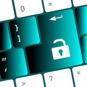 Open lock button on the keyboard key — Stock Photo
