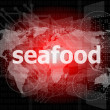Seafood word on a virtual digital background — Stock Photo
