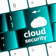 Cloud security concept showing cloud icon on computer key — Stock Photo #41059669