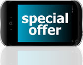 Digital smartphone with special offer words, business concept — Stockfoto