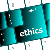 A keyboard with a key reading ethics — Stock Photo
