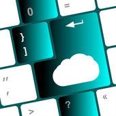 Concepto de cloud computing en el teclado de la computadora — Foto de Stock