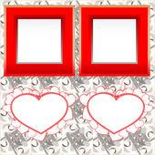 Dwa puste natychmiastowy ramki z serca kształtów na drewno — Zdjęcie stockowe