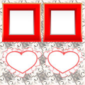 Two blank instant photo frames with heart shapes on wood — Stock Photo