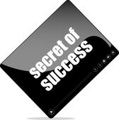 Video player for web with secret of success words — Stock Photo