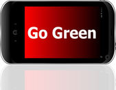 Mobile phone and go green word on it — Stock Photo