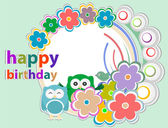 Birthday party card with cute birds and owl on trees and flowers — Stock Photo